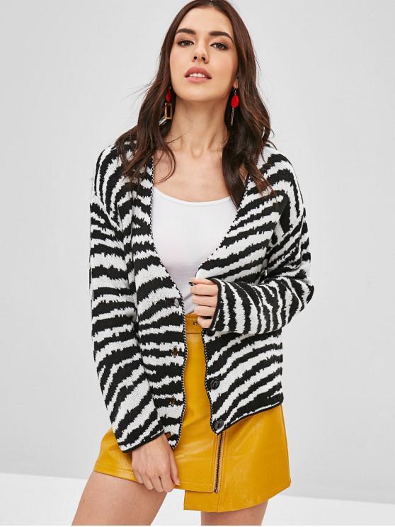 hot Zebra Stripe Cardigan - MULTI-A ONE SIZE