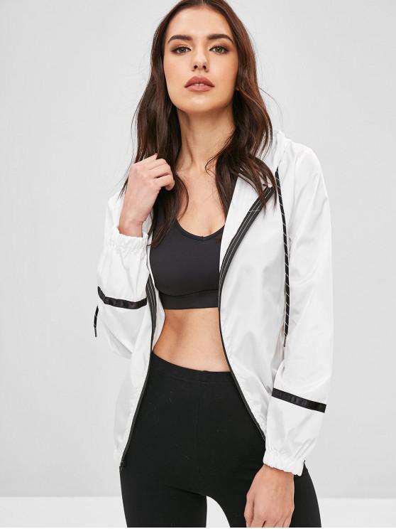 womens Stripe Panel Windbreaker Jacket - WHITE M