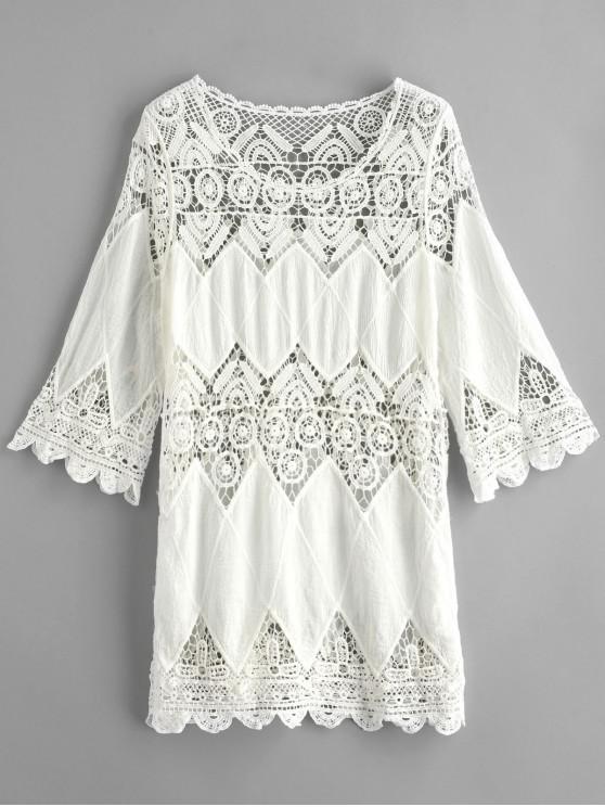 Panel de ganchillo vestido de playa para cubrir - Blanco Talla única