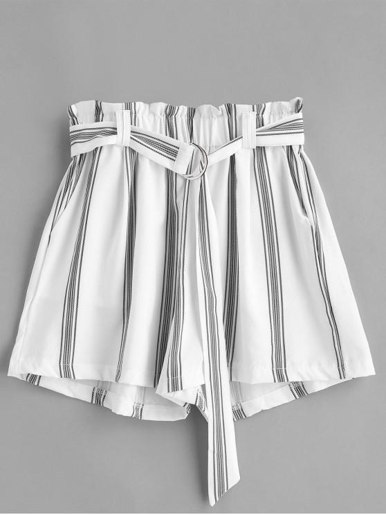Короткие шорты с поясничным кольцом - Белый M