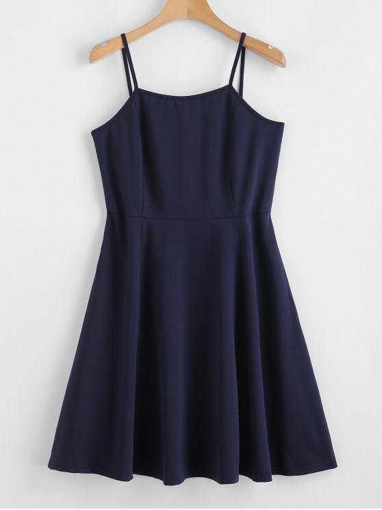 ZAFUL Criss Cross Cami Mini vestido - Azul de Medianoche M