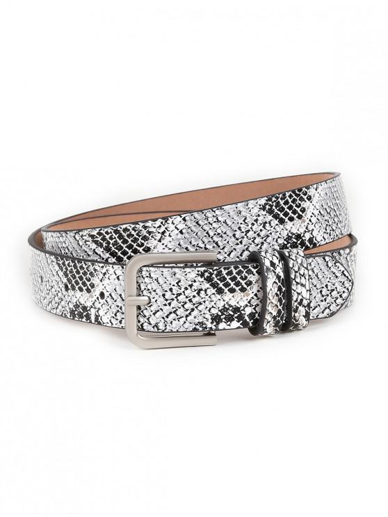 online Vintage Snake Pattern Embellished Skinny Belt - GRAY