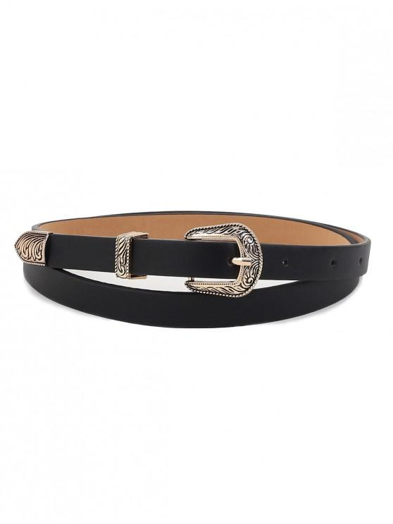 womens Vintage Carving Buckle Faux Leather Belt - BLACK