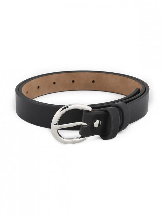 Simple Silver Metal Buckle Artificial Leather Belt - Preto