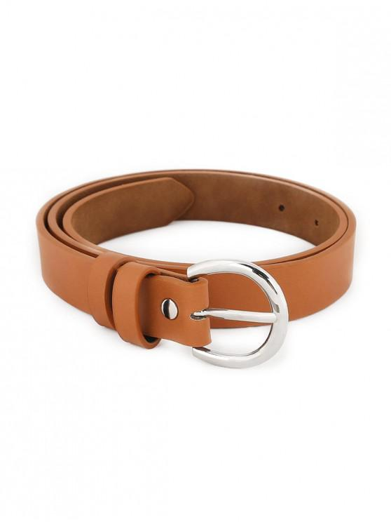 Simple Silver Metal Buckle Artificial Leather Belt - الجمل الجمل