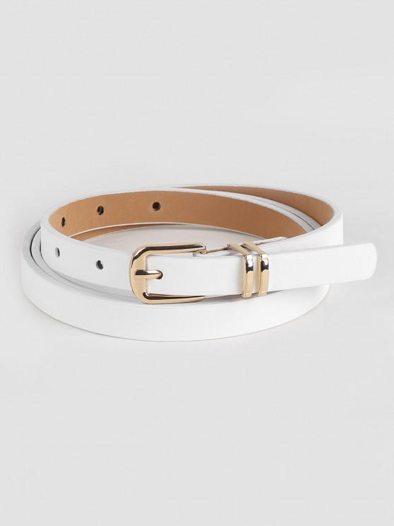 affordable Stylish Metal Buckle Artificial Leather Pant Belt - WHITE