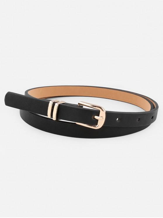 womens Stylish Metal Buckle Artificial Leather Pant Belt - BLACK