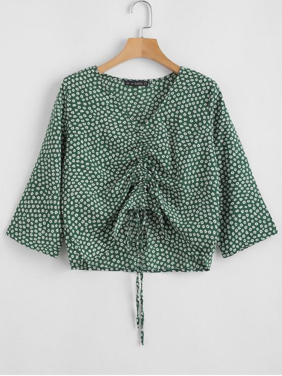 trendy V Neck Cinched Tiny Floral Blouse - GREEN M