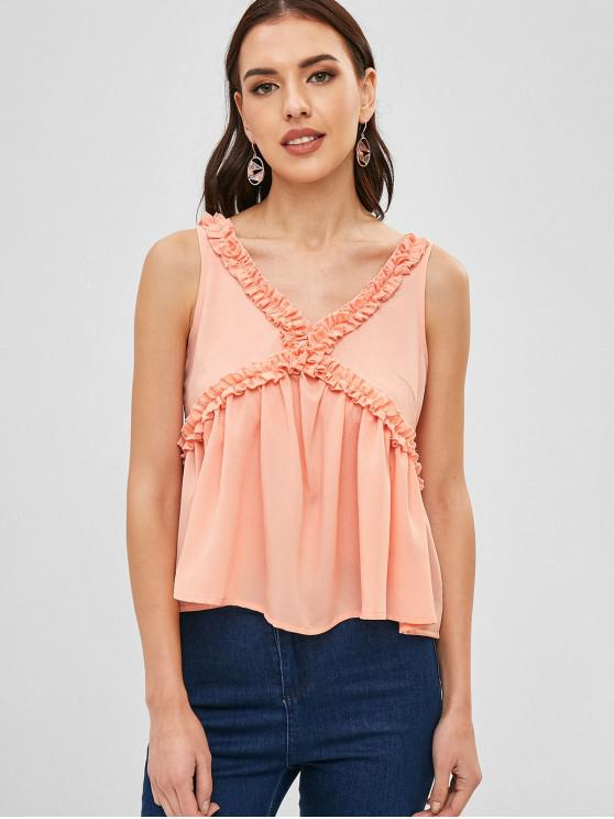 womens ZAFUL V Neck Ruffles Tank Top - ORANGE PINK M