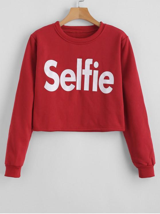 ladies Letter Graphic Crop Sweatshirt - RED XL