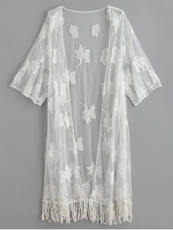 ladies Fringed Embroidered Tulle Kimono Beach Cover Up - WHITE ONE SIZE