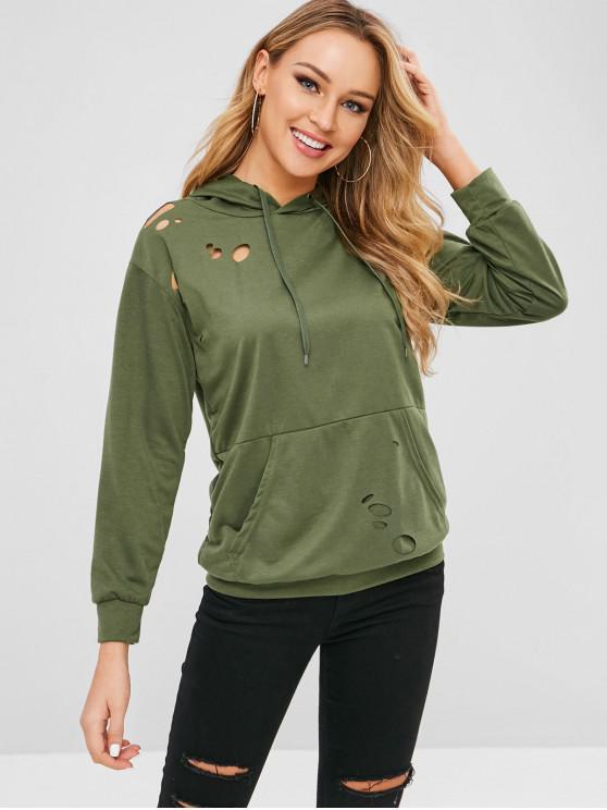buy Kangaroo Pocket Plain Ripped Hoodie - GREEN L