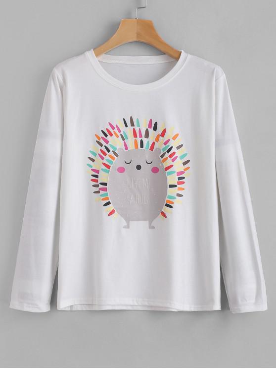 T-Shirt Grafica Con Maniche Lunghe - Bianca 2XL
