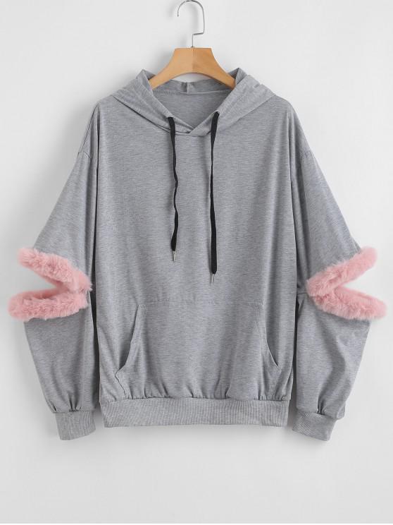 hot Faux Fur Trim Front Pocket Hoodie - GRAY CLOUD S