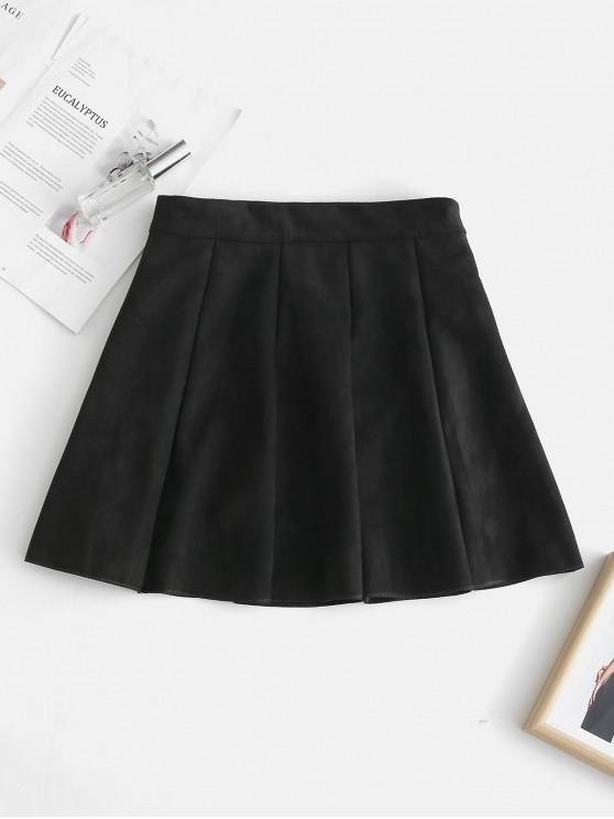 6b2e1360a 25% OFF] 2019 Faux Suede Pleated Mini Skirt In BLACK   ZAFUL