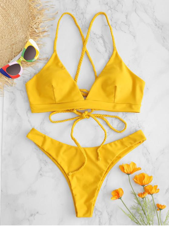 trendy ZAFUL Lace-up Braided Strap Bikini Set - ORANGE GOLD M