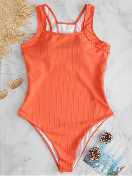 online ZAFUL Square Neck Thong High Leg Swimsuit - PUMPKIN ORANGE M