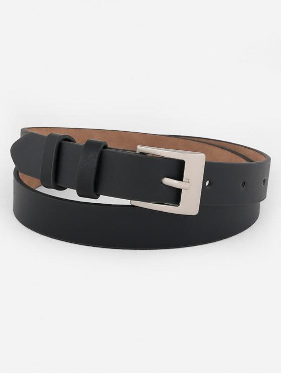 shop Metal Buckle Artificial Leather Skinny Waist Belt - BLACK