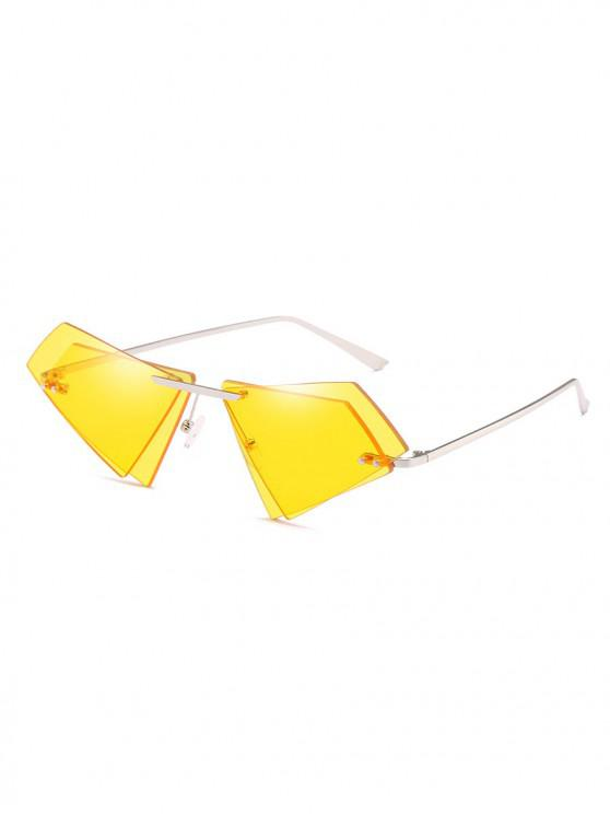 shops Unique Double Lens Rimless Novelty Sunglasses - SUN YELLOW