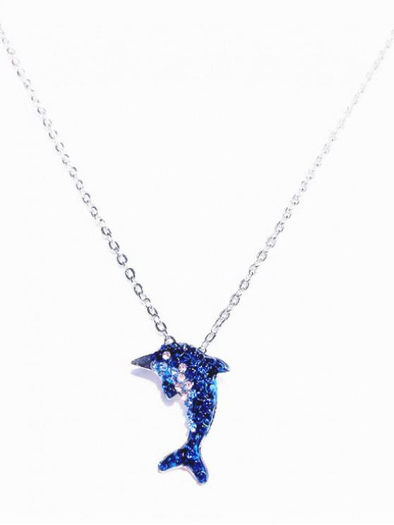 fashion Artificial Crystal Embellished Drop Necklace - BLUE