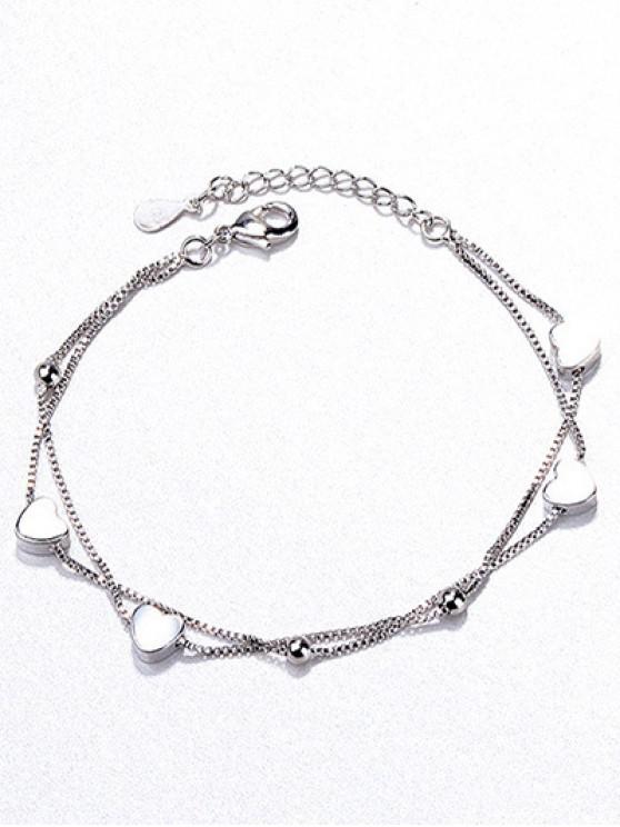 shops Beaded Heart Shape Bracelet - SILVER