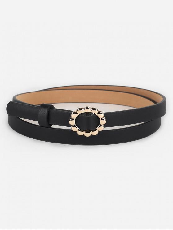 fancy Vintage Alloy Floral Buckle Skinny Belt - BLACK