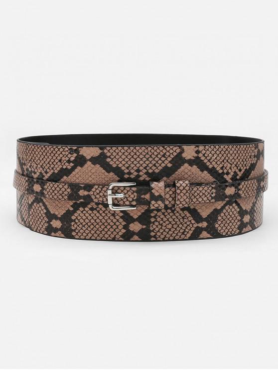 ladies Statement Snake Pattern Wide Waist Belt - CAMEL BROWN