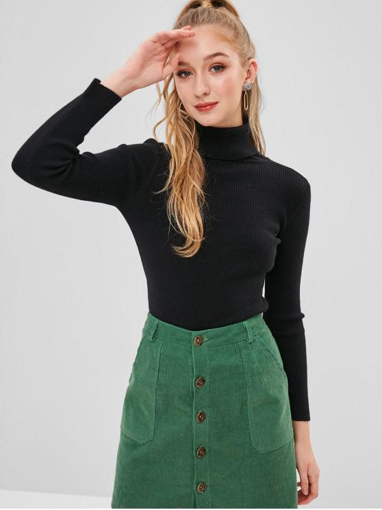 affordable ZAFUL Turtleneck Ribbed Sweater - BLACK ONE SIZE