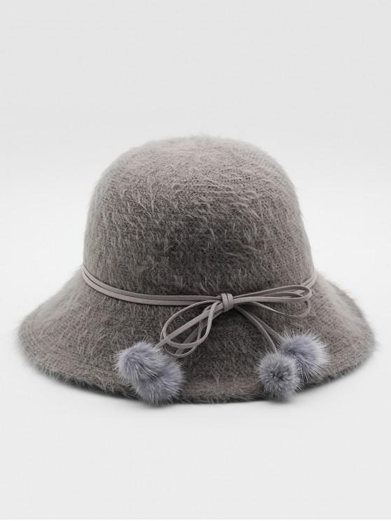 lady Stylish Bowknot Fuzzy Balls Buckle Hat - GRAY