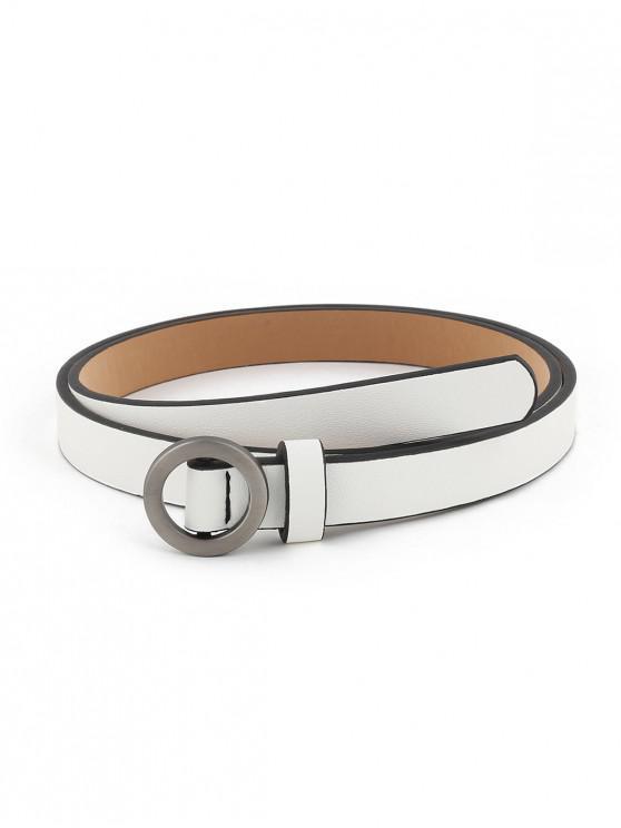 best Vintage Silver Round Buckle Embellished Belt - WHITE
