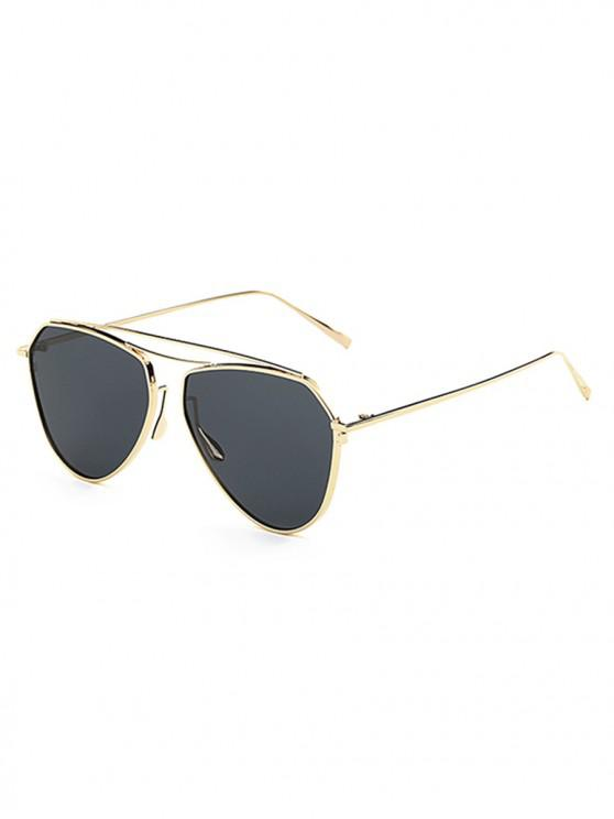 trendy Stylish Crossbar Embellished Flat Lens Sunglasses - BLACK