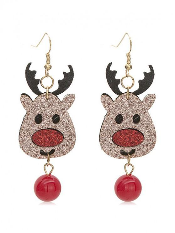unique Christmas Deer and Ball Decoration Drop Earrings - MULTI-A