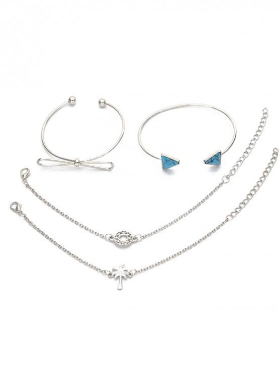 shops 4Pcs Geometric Bowknot Printed Bracelets Set - SILVER