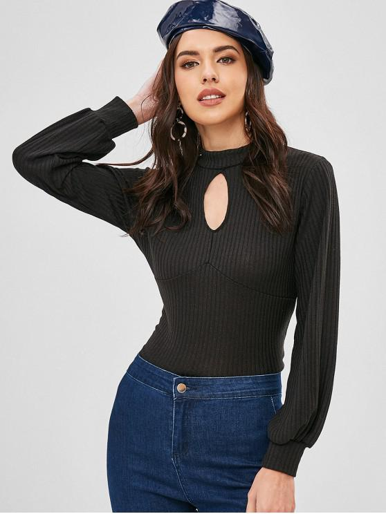 buy Keyhole Cut Out Knotted Knitted Top - BLACK S