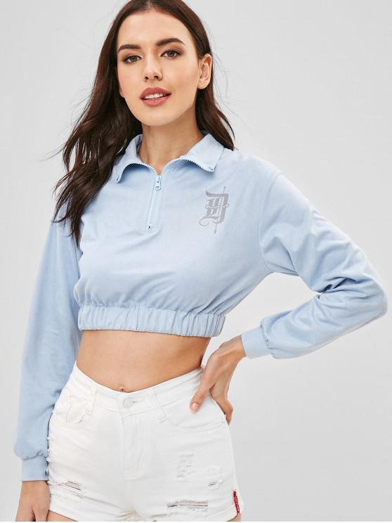 women Cropped Half Zip Faux Suede Sweatshirt - CORAL BLUE ONE SIZE