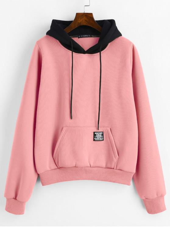 fashion ZAFUL Pouch Pocket Fleece Pullover Hoodie - LIGHT PINK M