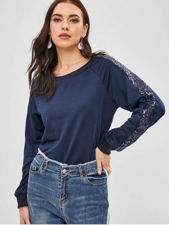Sudadera Cuello Redondo Con Lentejuelas - Azul de Pizarra Oscuro XL