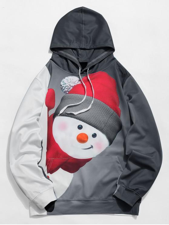 hot Kangaroo Pocket Snowman 3D Print Christmas Hoodie - BLACK XL