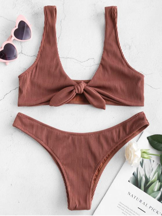 77efa103f258e 22% OFF] 2019 ZAFUL Tie Textured Ribbed Bikini Set In CHESTNUT | ZAFUL