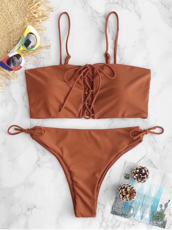 chic ZAFUL Lace-up Cami Bikini Set - SEPIA S