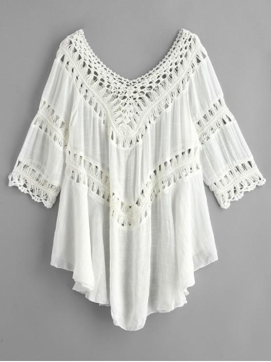 women Crochet Panel Hanky Beach Cover Up Dress - WHITE ONE SIZE