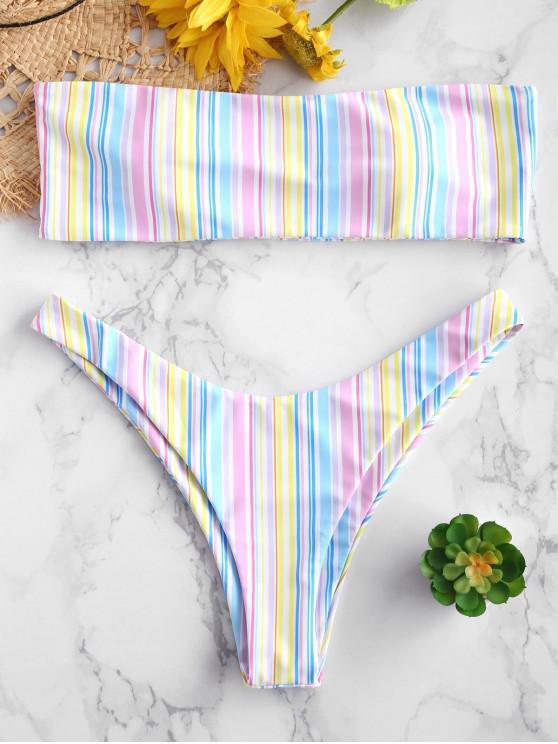 unique ZAFUL Colorful Stripe Bandeau Bikini Set - MULTI-A L