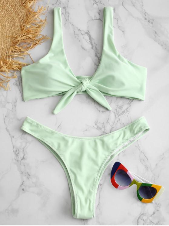 fashion Scrunch Butt Knotted Thong Bikini - MINT GREEN S