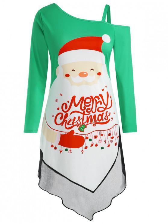 Plus Size Asymmetric Christmas Graphic Skew Neck Dress - Acvamarin L