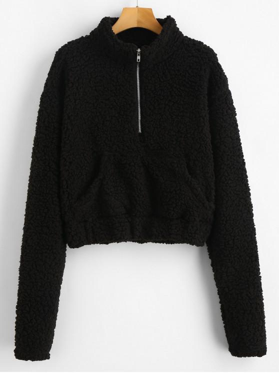 outfits Half Zip Fluffy Faux Shearling Teddy Sweatshirt - BLACK M