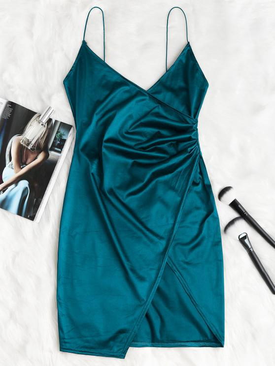 best Cami Draped Crossover Slip Party Dress - PEACOCK BLUE M