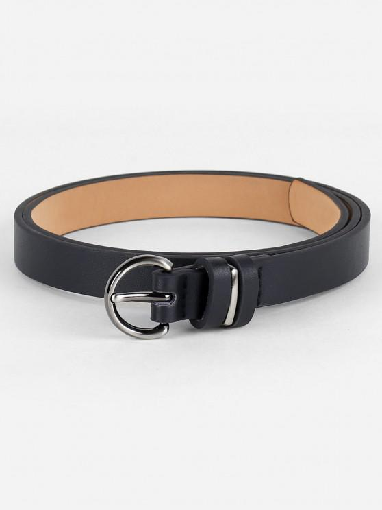 fancy Simple Artificial Leather Skinny Waist Belt - BLACK