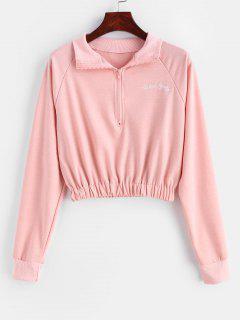 Letter Embroidered Raglan Sleeve Zipper Sweatshirt - Rose S