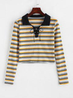 Striped Lace Up Crop T-shirt - Multi S
