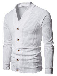 Sólido Botón De Bolsillo Hasta Suéter Fino - Blanco M